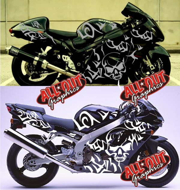 Tribal Motorcycle Graphics : Custom Motorcycle Graphics decal kit tribal skull decals