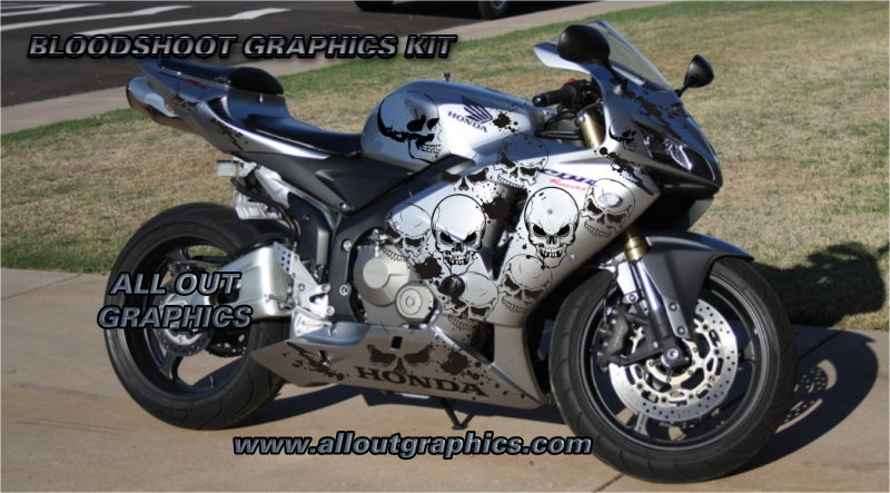 Custom Motorcycle Graphics Decal Kit Bloodshoot - Custom motorcycle stickers kits