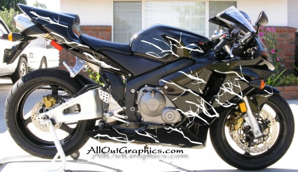 Custom motorcycle graphics lightning decal kit